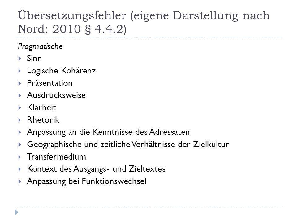 Übersetzungsfehler (eigene Darstellung nach Nord: 2010 § 4.4.2) Pragmatische Sinn Logische Kohärenz Präsentation Ausdrucksweise Klarheit Rhetorik Anpa