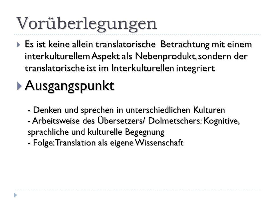Zugänge Zugänge Transdisziplinär (Holz-Mänttäri 1996) Eigenständige Disziplin, eigene Methode im Diskurs mit Nachbardisziplinen (Best/Kalina 2002) Eigenständige Disziplin, eigene Methode im Diskurs mit Nachbardisziplinen (Best/Kalina 2002) Bestandteile Bestandteile Linguistik Linguistik Die Beschreibung von Übersetzungs-vorgängen und die Analyse von Übersetzungen ist [...] allein mit den Erkenntniszielen und Methoden der Sprachwissenschaft [...] zu leisten.