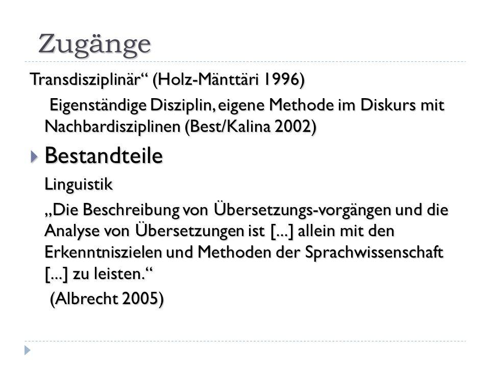 II Kulturelle Handlungstheorie Was die Betonung von Kultur [...] anbelangt, so scheint es sich dabei vornehmlich um ein Sich-Einstellen auf gerade aktuelle Tendenzen im Fach zu handeln Was die Betonung von Kultur [...] anbelangt, so scheint es sich dabei vornehmlich um ein Sich-Einstellen auf gerade aktuelle Tendenzen im Fach zu handeln (Witte 2000) (Witte 2000) Han- deln Inter -kul- tura- lität Fun ktio- na- Lität Rolle des Trans - lators Funktionale Perspektive