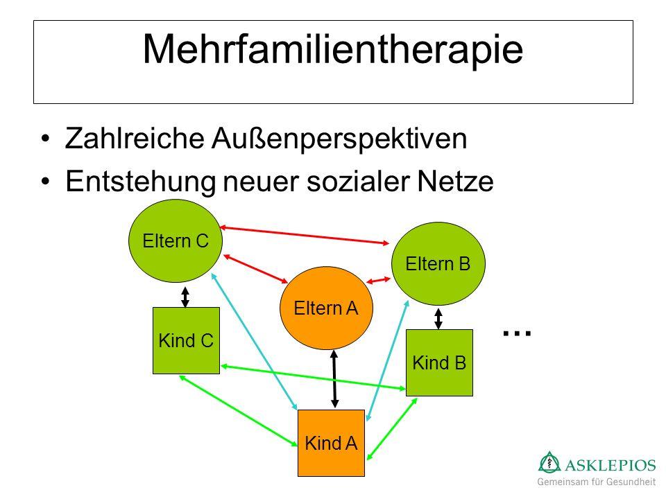Mehrfamilientherapie Zahlreiche Außenperspektiven Entstehung neuer sozialer Netze Eltern A Eltern B Eltern C Kind A Kind B Kind C …