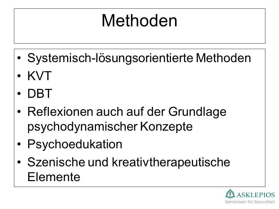 Methoden Systemisch-lösungsorientierte Methoden KVT DBT Reflexionen auch auf der Grundlage psychodynamischer Konzepte Psychoedukation Szenische und kr