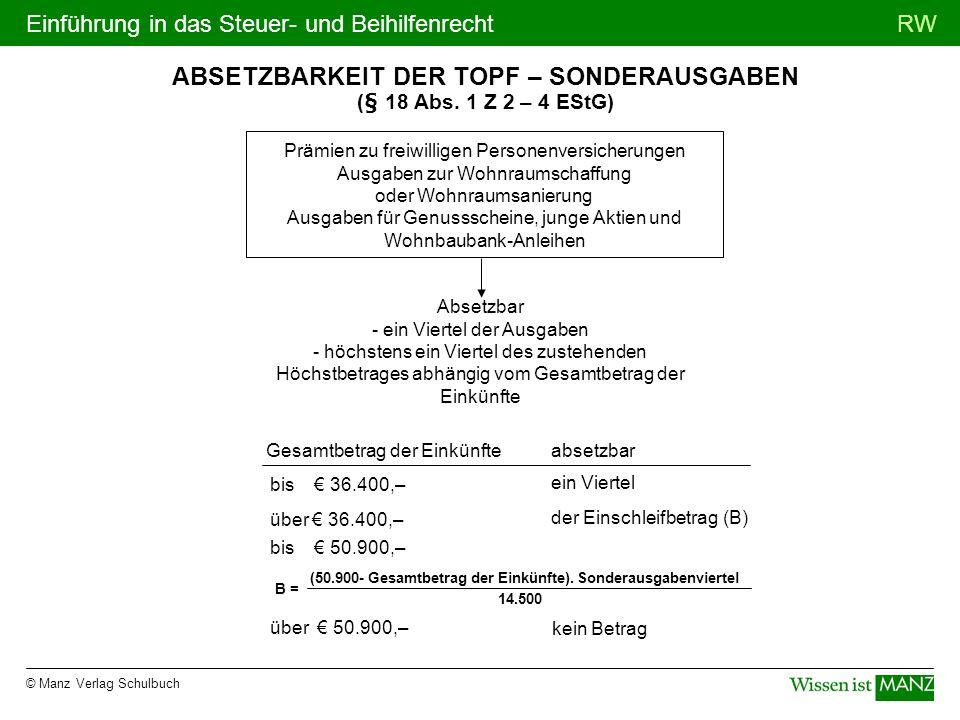 © Manz Verlag Schulbuch RWEinführung in das Steuer- und Beihilfenrecht ABSETZBARKEIT DER TOPF – SONDERAUSGABEN (§ 18 Abs. 1 Z 2 – 4 EStG) Prämien zu f