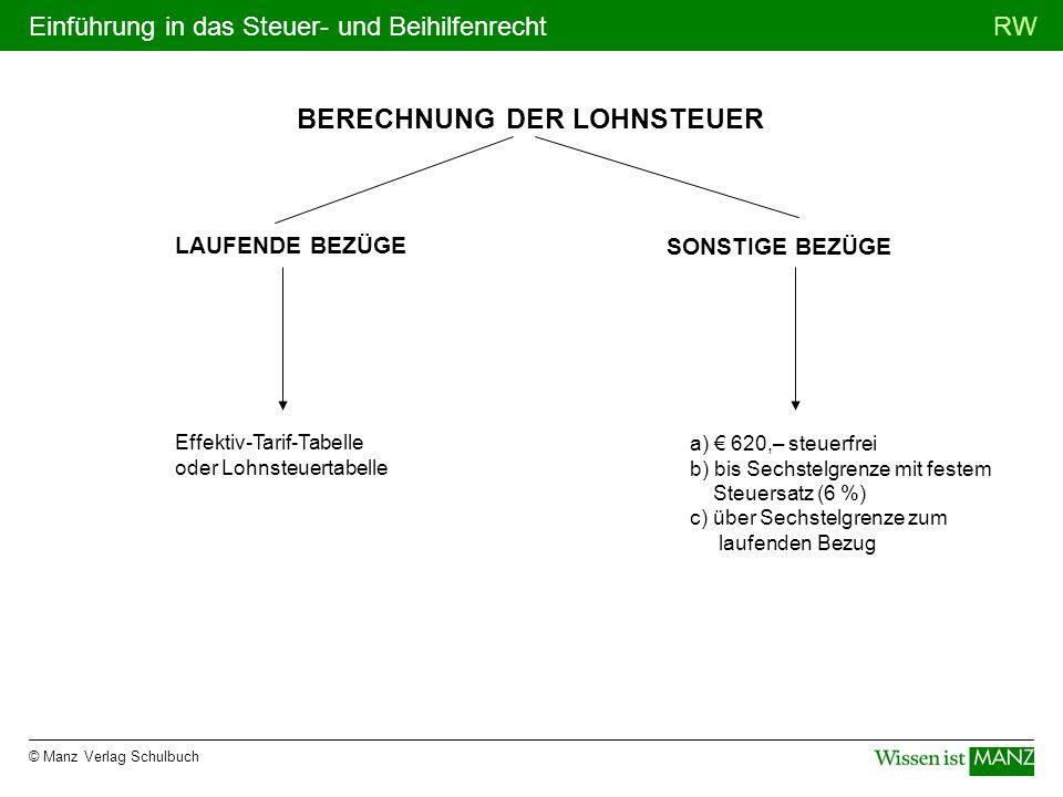 © Manz Verlag Schulbuch RWEinführung in das Steuer- und Beihilfenrecht BERECHNUNG DER LOHNSTEUER SONSTIGE BEZÜGE Effektiv-Tarif-Tabelle oder Lohnsteue