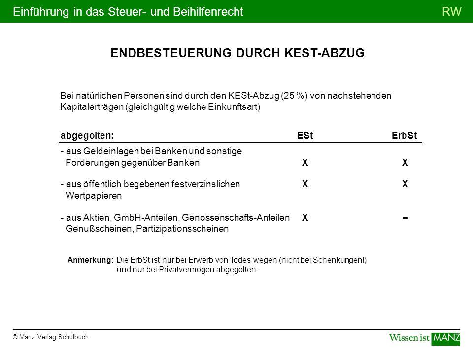 © Manz Verlag Schulbuch RWEinführung in das Steuer- und Beihilfenrecht ENDBESTEUERUNG DURCH KEST-ABZUG Bei natürlichen Personen sind durch den KESt-Ab