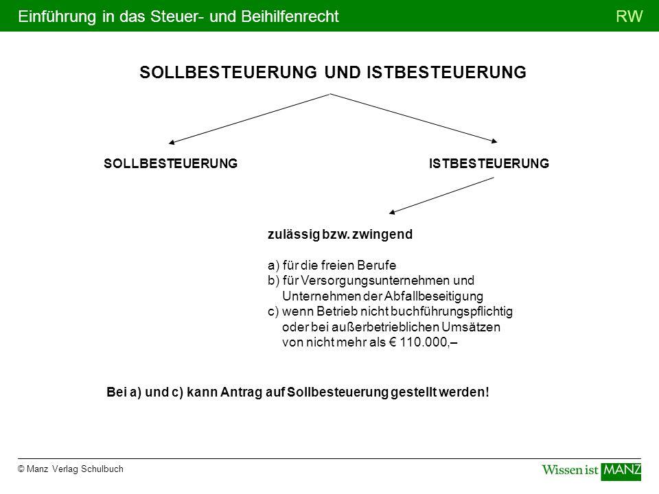 © Manz Verlag Schulbuch RWEinführung in das Steuer- und Beihilfenrecht SOLLBESTEUERUNG UND ISTBESTEUERUNG SOLLBESTEUERUNG zulässig bzw. zwingend a) fü