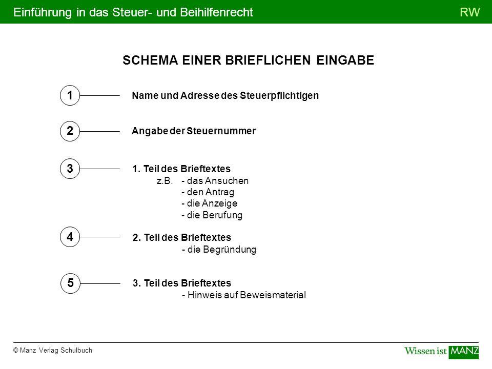 © Manz Verlag Schulbuch RWEinführung in das Steuer- und Beihilfenrecht SCHEMA EINER BRIEFLICHEN EINGABE 1 2 3 4 5 Name und Adresse des Steuerpflichtig