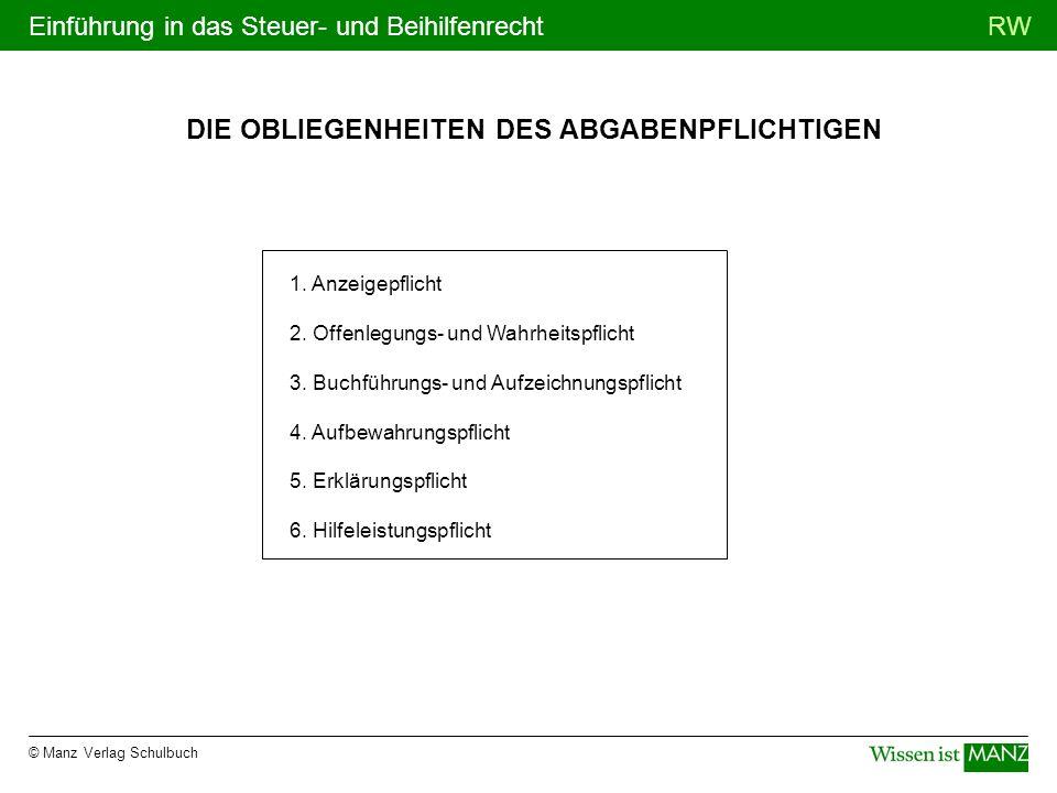 © Manz Verlag Schulbuch RWEinführung in das Steuer- und Beihilfenrecht DIE OBLIEGENHEITEN DES ABGABENPFLICHTIGEN 1. Anzeigepflicht 2. Offenlegungs- un