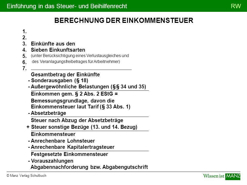 © Manz Verlag Schulbuch RWEinführung in das Steuer- und Beihilfenrecht BERECHNUNG DER EINKOMMENSTEUER 1. 2. 3. Einkünfte aus den 4. Sieben Einkunftsar