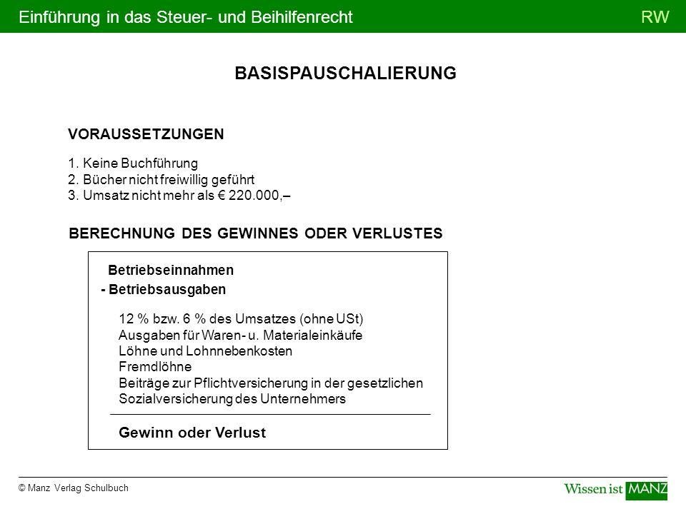 © Manz Verlag Schulbuch RWEinführung in das Steuer- und Beihilfenrecht BASISPAUSCHALIERUNG VORAUSSETZUNGEN 1. Keine Buchführung 2. Bücher nicht freiwi