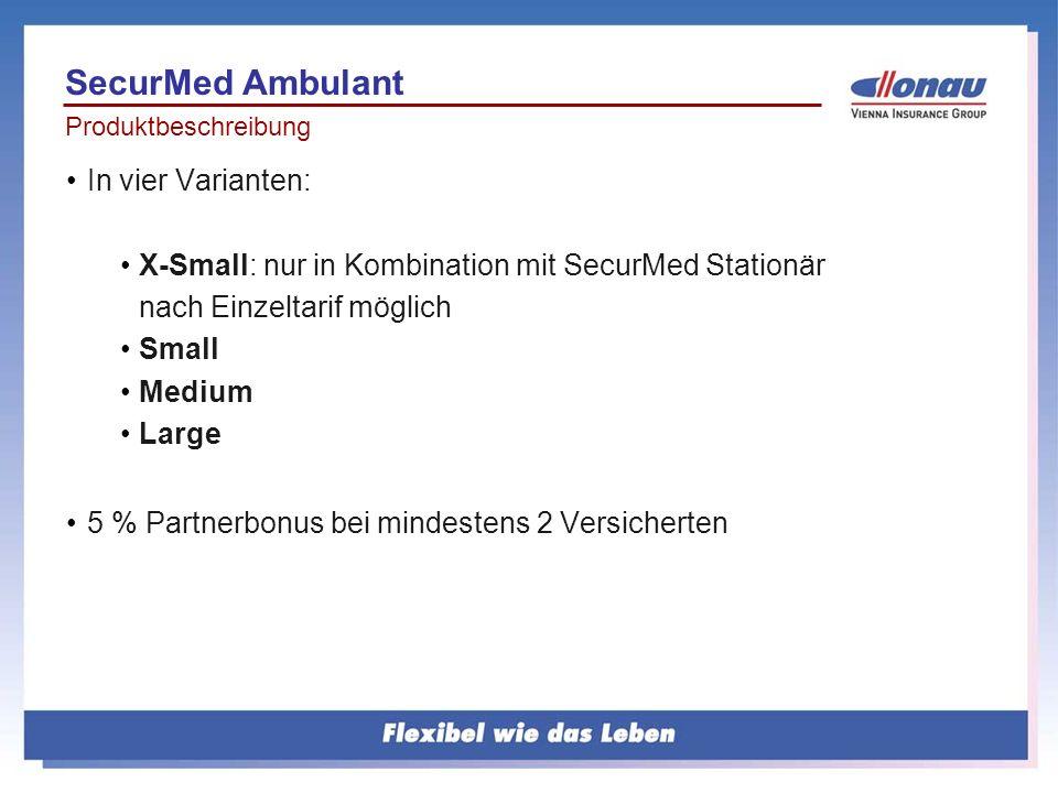Produktbeschreibung In vier Varianten: X-Small: nur in Kombination mit SecurMed Stationär nach Einzeltarif möglich Small Medium Large 5 % Partnerbonus