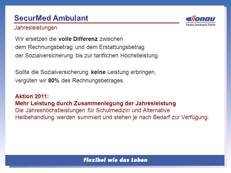 Jahresleistungen SecurMed Ambulant Wir ersetzen die volle Differenz zwischen dem Rechnungsbetrag und dem Erstattungsbetrag der Sozialversicherung bis