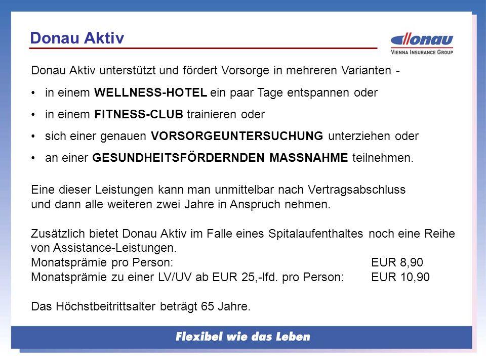 Donau Aktiv unterstützt und fördert Vorsorge in mehreren Varianten - in einem WELLNESS-HOTEL ein paar Tage entspannen oder in einem FITNESS-CLUB train