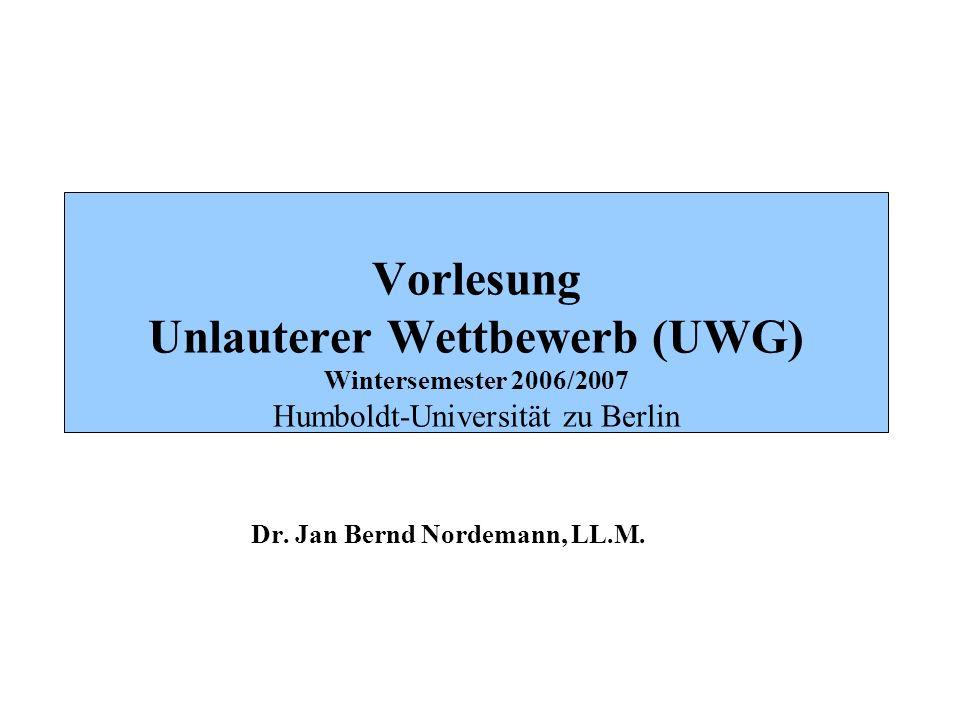 BOEHMERT & BOEHMERT Wettbewerbsrechtliche Grundlagen: Übersicht A.
