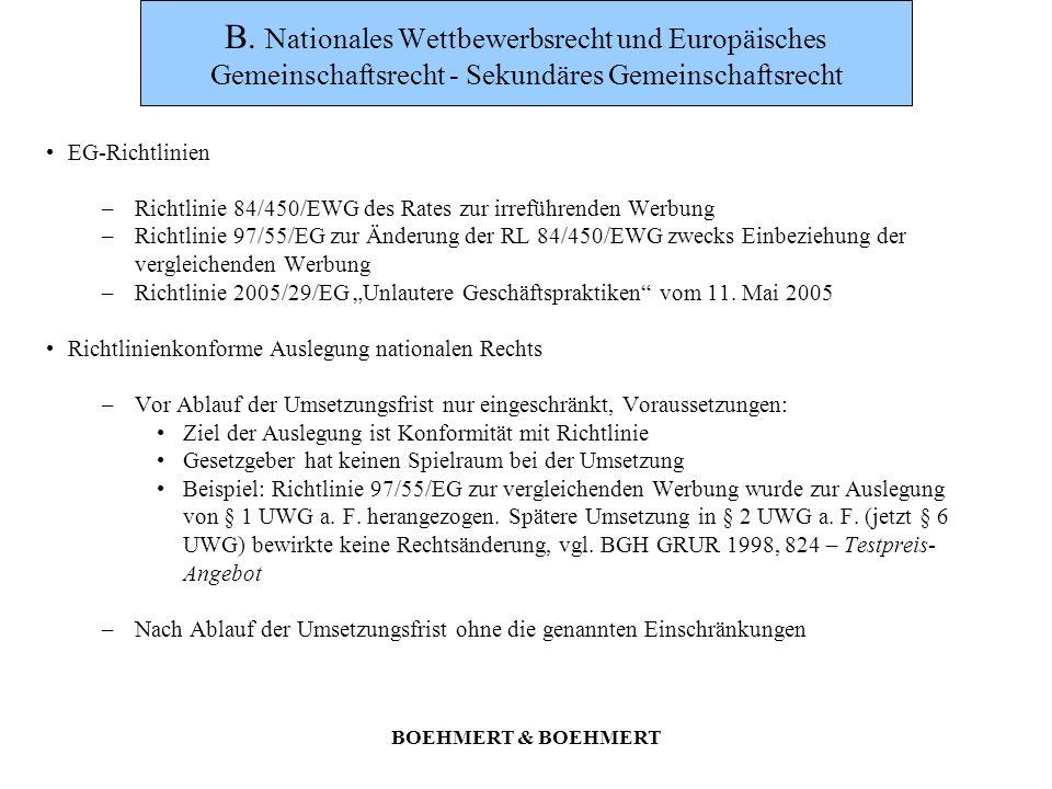 BOEHMERT & BOEHMERT D.Schutzzweck Nach § 1 S.