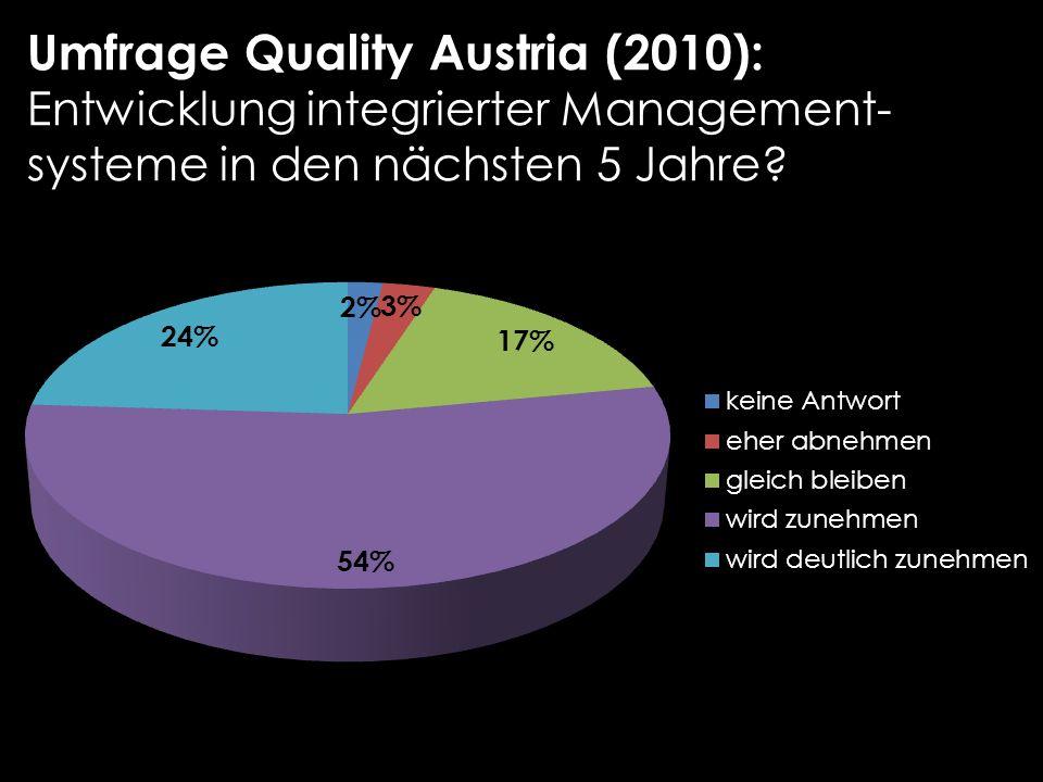 Umfrage Quality Austria (2010): Entwicklung integrierter Management- systeme in den nächsten 5 Jahre?