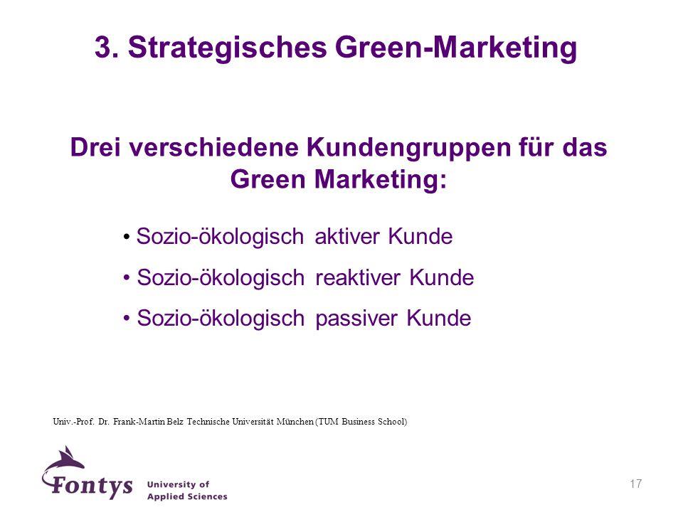 17 Drei verschiedene Kundengruppen für das Green Marketing: Sozio-ökologisch aktiver Kunde Sozio-ökologisch reaktiver Kunde Sozio-ökologisch passiver