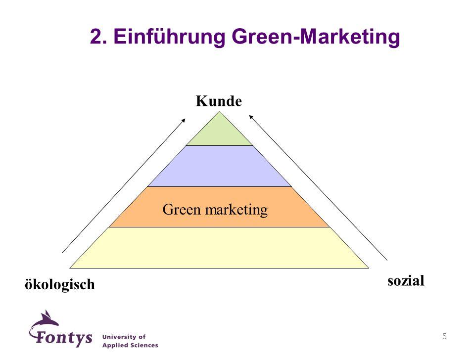 6 Gründe für Green Marketing aus Sicht der Unternehmen: Neue Märkte und Zielgruppen Produktdifferenzierung Markenimage
