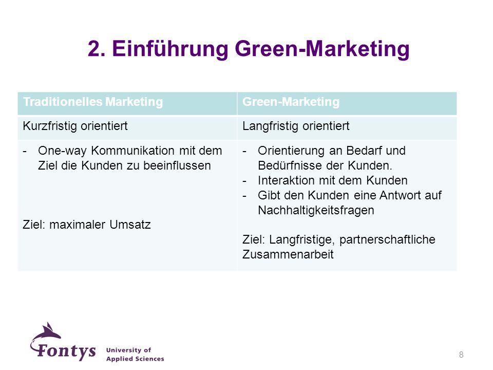 Traditionelles MarketingGreen-Marketing Kurzfristig orientiertLangfristig orientiert -One-way Kommunikation mit dem Ziel die Kunden zu beeinflussen Zi