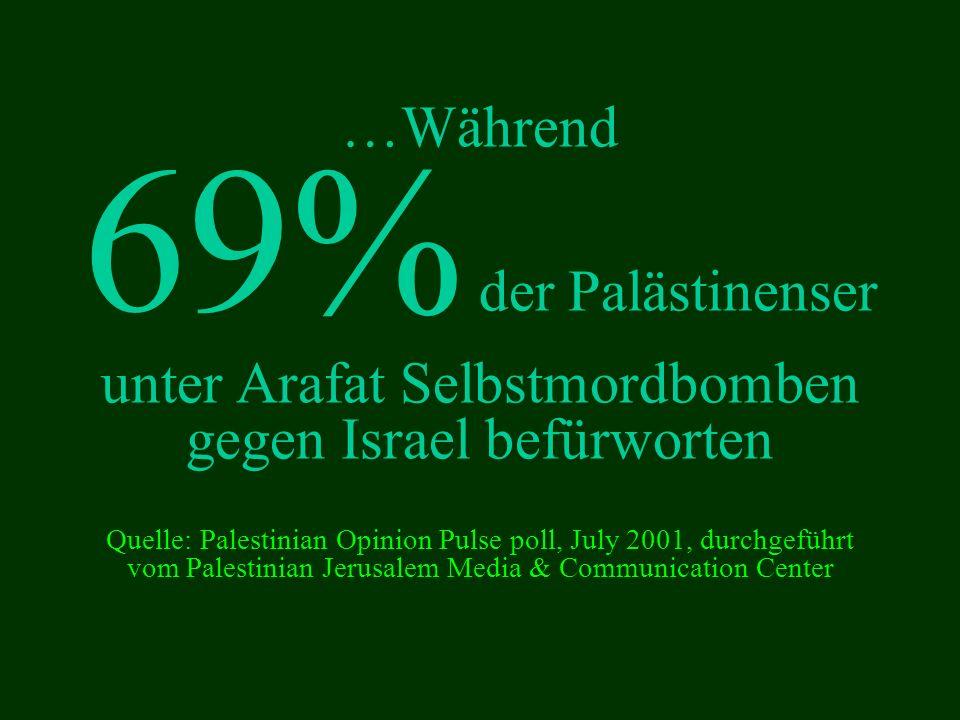 …Während 69% der Palästinenser unter Arafat Selbstmordbomben gegen Israel befürworten Quelle: Palestinian Opinion Pulse poll, July 2001, durchgeführt vom Palestinian Jerusalem Media & Communication Center
