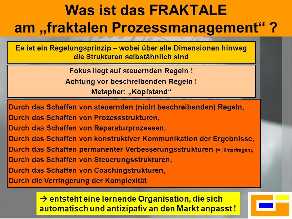 16 Was ist das FRAKTALE am fraktalen Prozessmanagement ? Es ist ein Regelungsprinzip – wobei über alle Dimensionen hinweg die Strukturen selbstähnlich