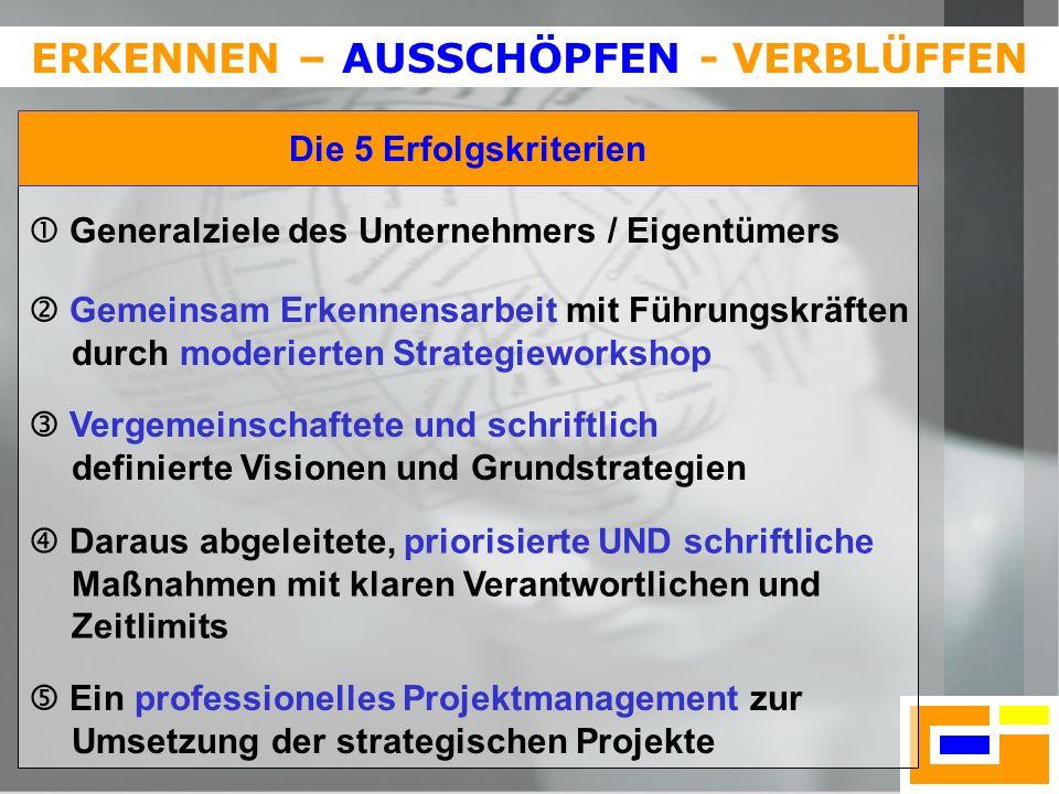 17 ERKENNEN – AUSSCHÖPFEN - VERBLÜFFEN Generalziele des Unternehmers / Eigentümers Gemeinsam Erkennensarbeit mit Führungskräften durch moderierten Str