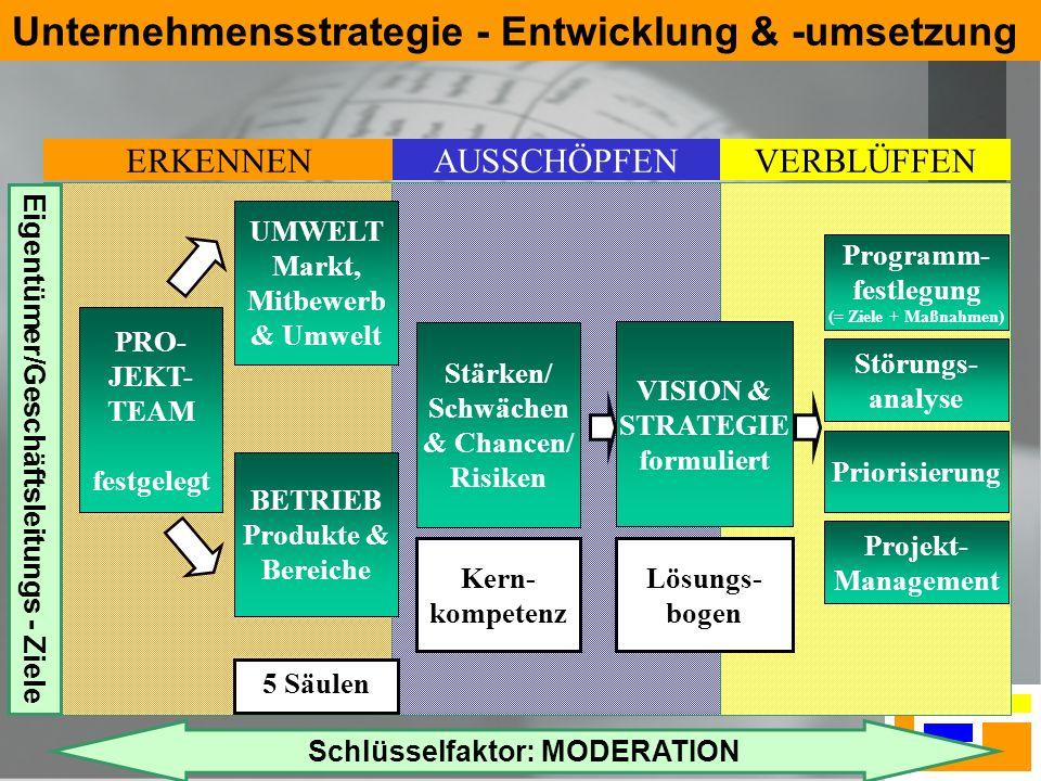 5 Unternehmensstrategie - Entwicklung & -umsetzung PRO- JEKT- TEAM festgelegt UMWELT Markt, Mitbewerb & Umwelt BETRIEB Produkte & Bereiche Stärken/ Sc