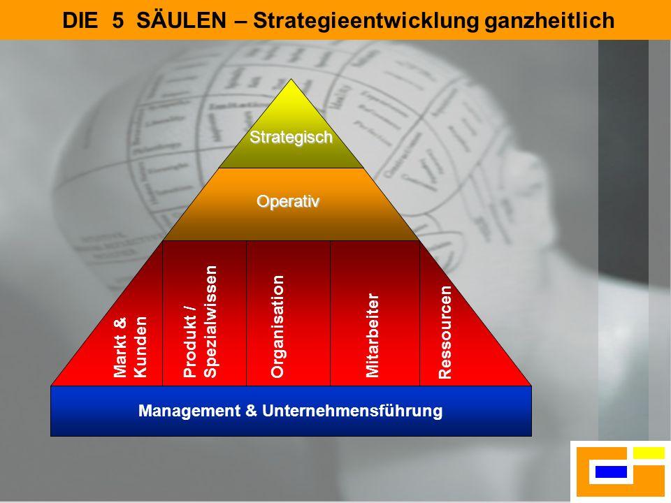 6 5 Säulen Fundament DIE 5 SÄULEN – Strategieentwicklung ganzheitlich Operativ Management & Unternehmensführung Strategisch Markt & Kunden Produkt / S