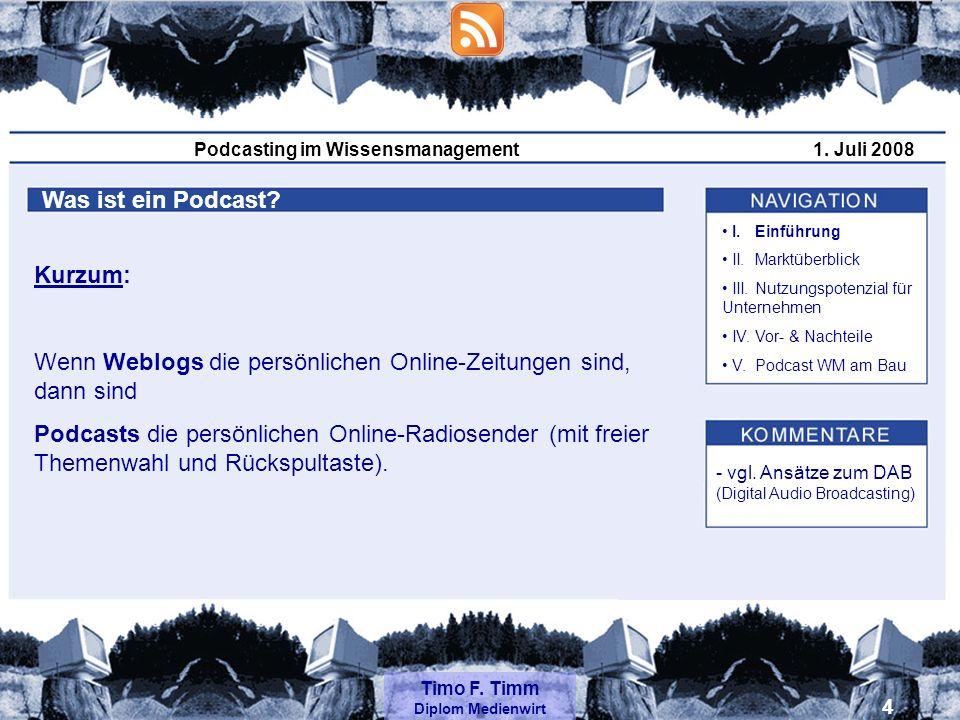 Podcasting im Wissensmanagement1.Juli 2008 Timo F.