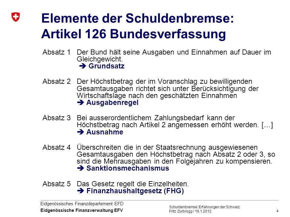4 Eidgenössisches Finanzdepartement EFD Eidgenössische Finanzverwaltung EFV Schuldenbremse: Erfahrungen der Schweiz Fritz Zurbrügg / 19.1.2012 Element
