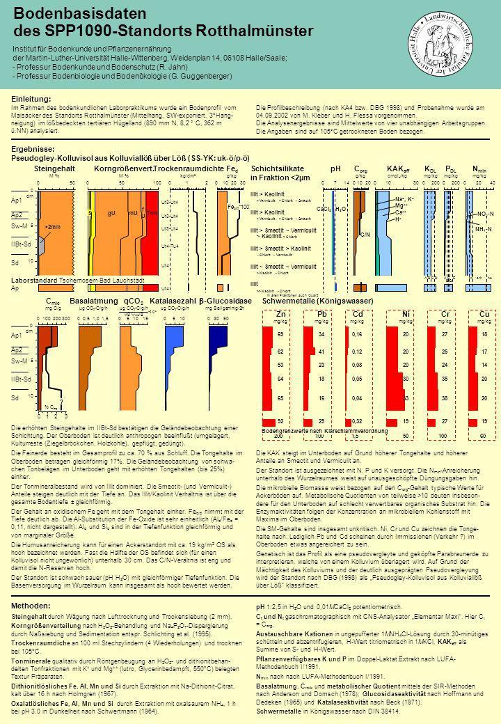 C mic mg C/g 0100300200 % C org 0132 qCO 2 µg CO 2 -C/g/h µg C mic /g 051510 10 3 ? Basalatmung µg CO 2 -C/g/h 00,51,51,0 Katalasezahl µg CO 2 -C/g/h
