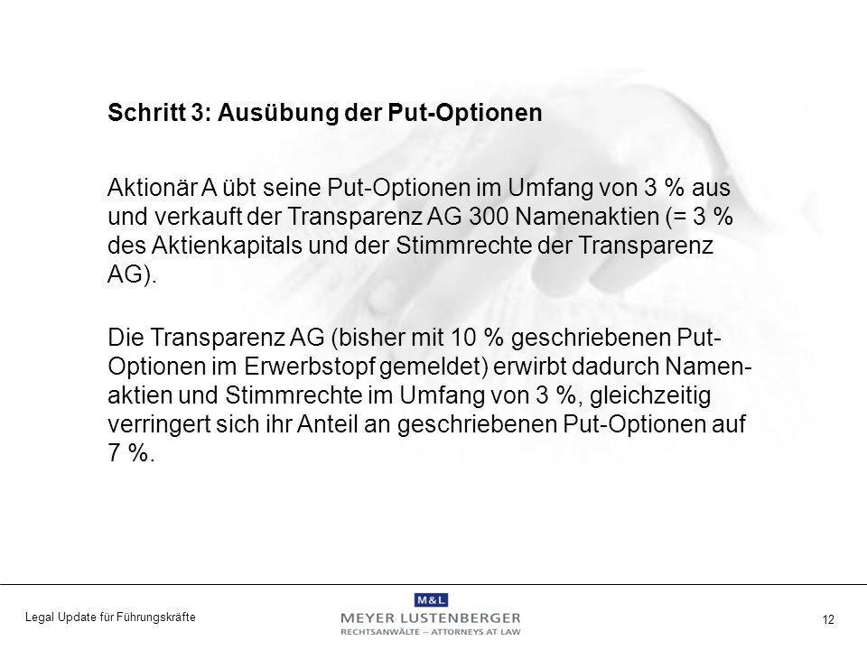 Legal Update für Führungskräfte 12 Schritt 3: Ausübung der Put-Optionen Aktionär A übt seine Put-Optionen im Umfang von 3 % aus und verkauft der Trans