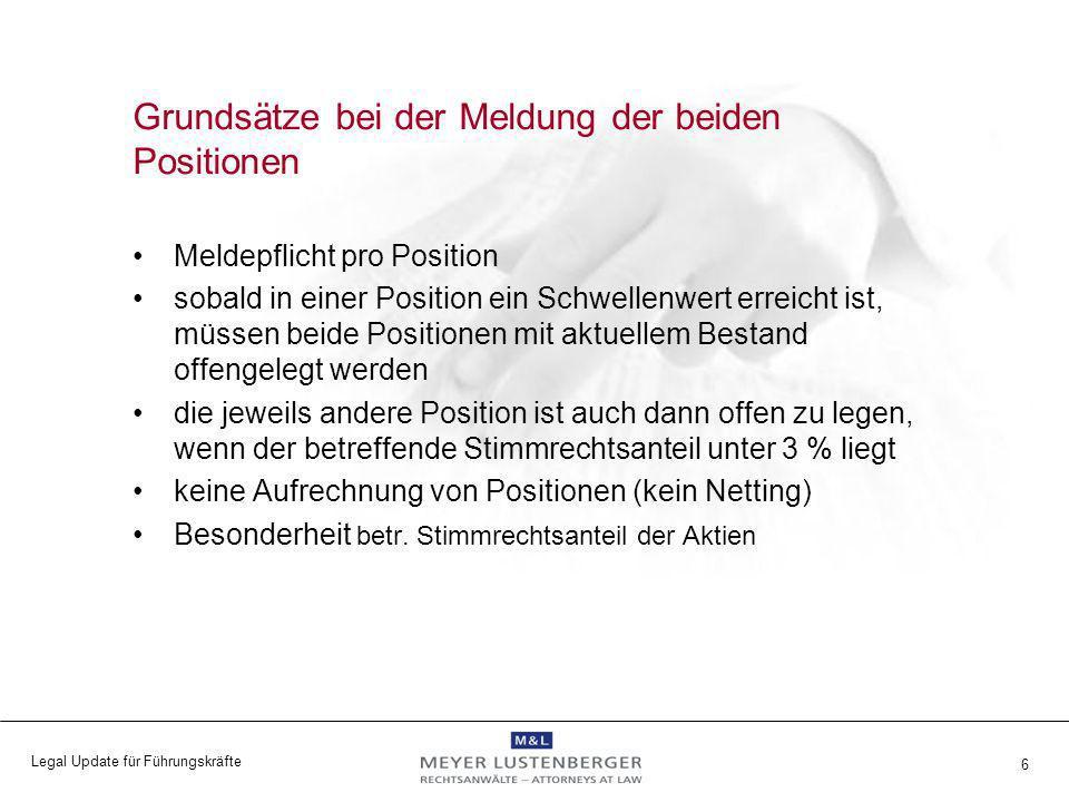 Legal Update für Führungskräfte 6 Grundsätze bei der Meldung der beiden Positionen Meldepflicht pro Position sobald in einer Position ein Schwellenwer