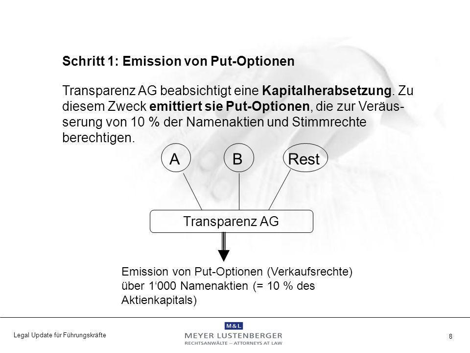Legal Update für Führungskräfte 9 Offenlegungsmeldung: Transparenz AG meldet die geschriebenen Put-Optionen im Umfang von 10 % der Namenaktien im Erwerbstopf.