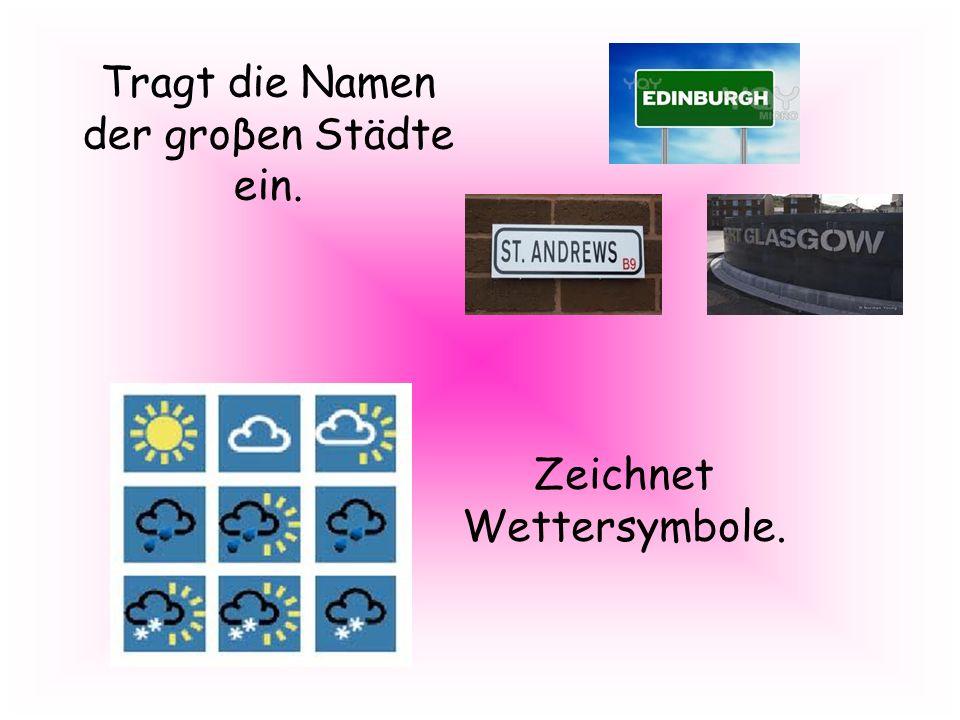 Tragt die Namen der groβen Städte ein. Zeichnet Wettersymbole.