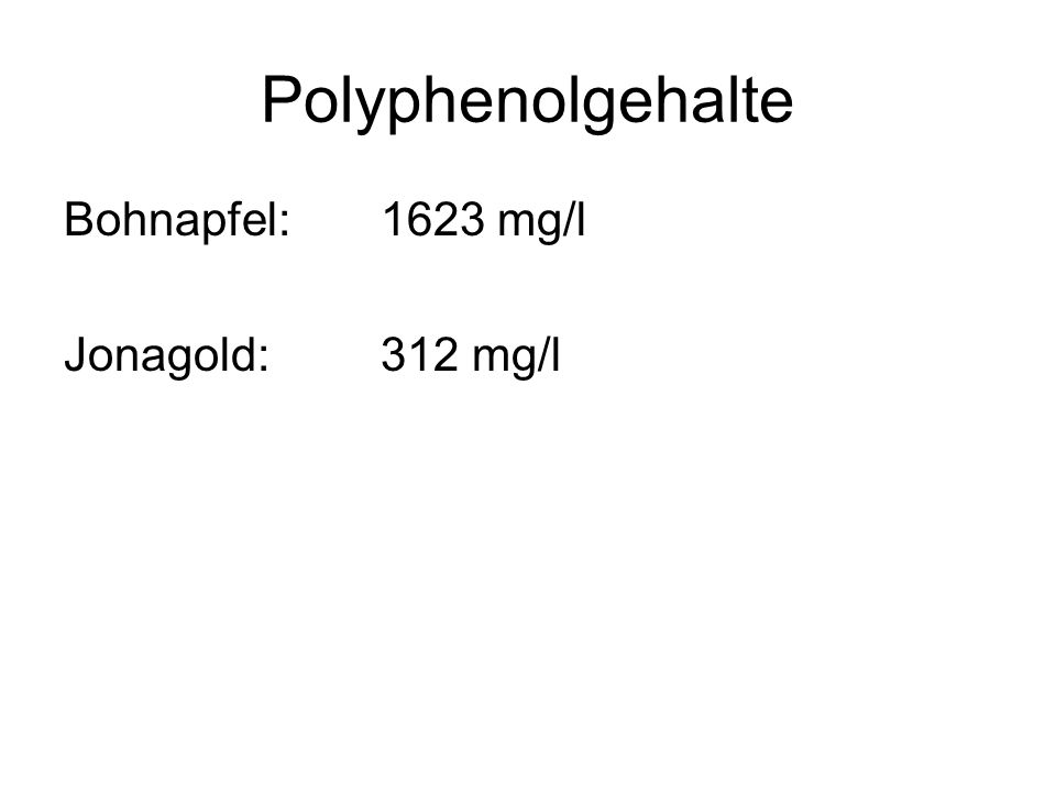 Polyphenolgehalte Bohnapfel:1623 mg/l Jonagold:312 mg/l