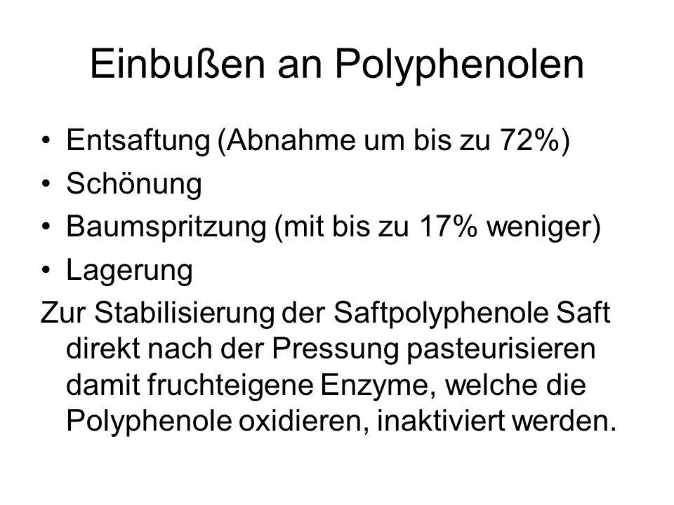 Einbußen an Polyphenolen Entsaftung (Abnahme um bis zu 72%) Schönung Baumspritzung (mit bis zu 17% weniger) Lagerung Zur Stabilisierung der Saftpolyph