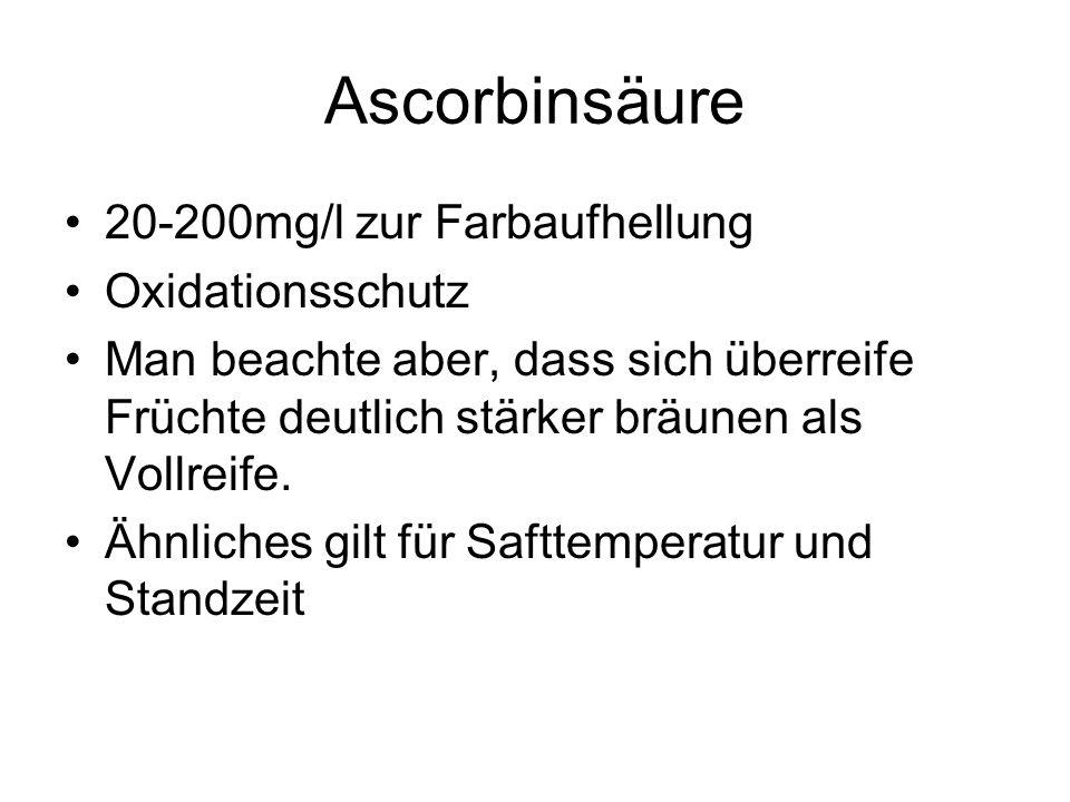 Ascorbinsäure 20-200mg/l zur Farbaufhellung Oxidationsschutz Man beachte aber, dass sich überreife Früchte deutlich stärker bräunen als Vollreife. Ähn