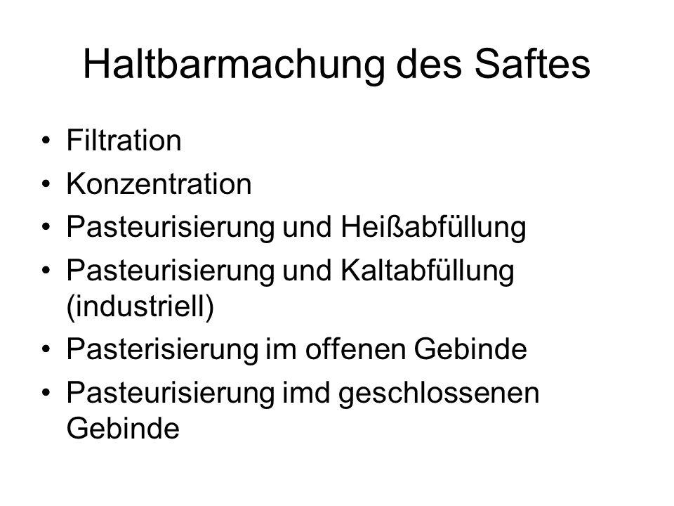 Haltbarmachung des Saftes Filtration Konzentration Pasteurisierung und Heißabfüllung Pasteurisierung und Kaltabfüllung (industriell) Pasterisierung im