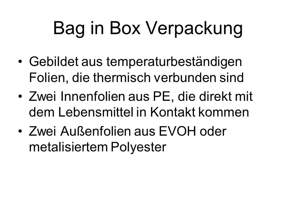 Bag in Box Verpackung Gebildet aus temperaturbeständigen Folien, die thermisch verbunden sind Zwei Innenfolien aus PE, die direkt mit dem Lebensmittel