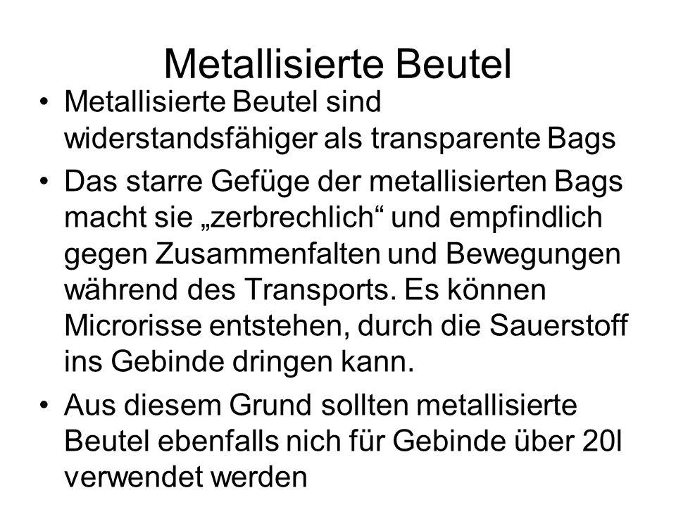 Metallisierte Beutel Metallisierte Beutel sind widerstandsfähiger als transparente Bags Das starre Gefüge der metallisierten Bags macht sie zerbrechli