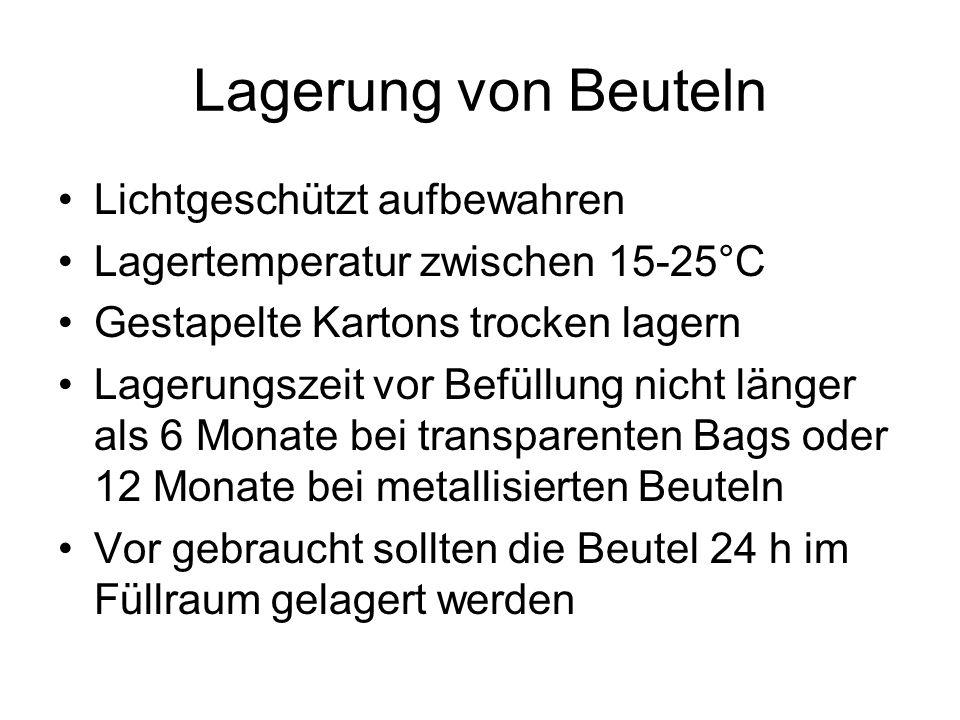 Lagerung von Beuteln Lichtgeschützt aufbewahren Lagertemperatur zwischen 15-25°C Gestapelte Kartons trocken lagern Lagerungszeit vor Befüllung nicht l