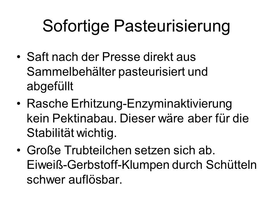 Sofortige Pasteurisierung Saft nach der Presse direkt aus Sammelbehälter pasteurisiert und abgefüllt Rasche Erhitzung-Enzyminaktivierung kein Pektinab