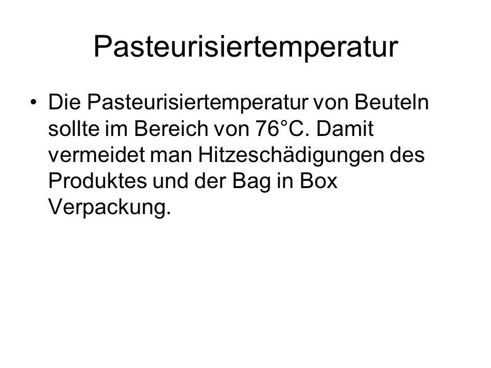 Pasteurisiertemperatur Die Pasteurisiertemperatur von Beuteln sollte im Bereich von 76°C. Damit vermeidet man Hitzeschädigungen des Produktes und der