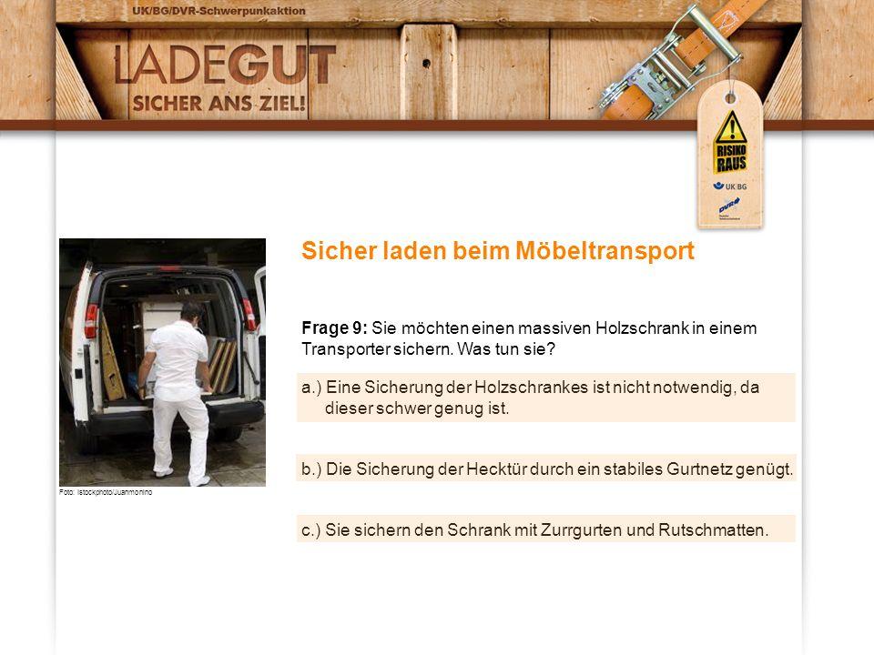 Sicher laden beim Möbeltransport Frage 9: Sie möchten einen massiven Holzschrank in einem Transporter sichern. Was tun sie? a.) Eine Sicherung der Hol