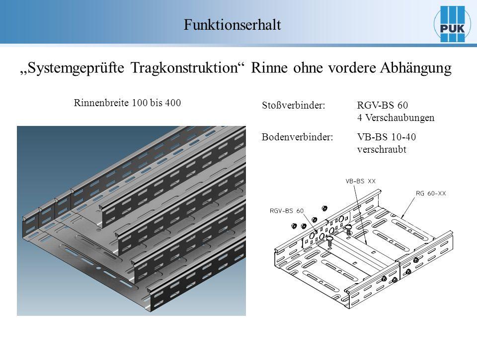 Funktionserhalt Systemgeprüfte Tragkonstruktion Rinne ohne vordere Abhängung Rinnenbreite 100 bis 400 Stoßverbinder:RGV-BS 60 4 Verschaubungen Bodenve