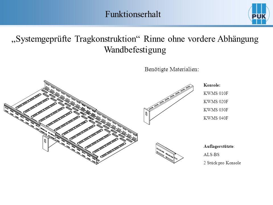 Funktionserhalt Systemgeprüfte Tragkonstruktion Rinne ohne vordere Abhängung Wandbefestigung Benötigte Materialien: Konsole: KWMS 010F KWMS 020F KWMS