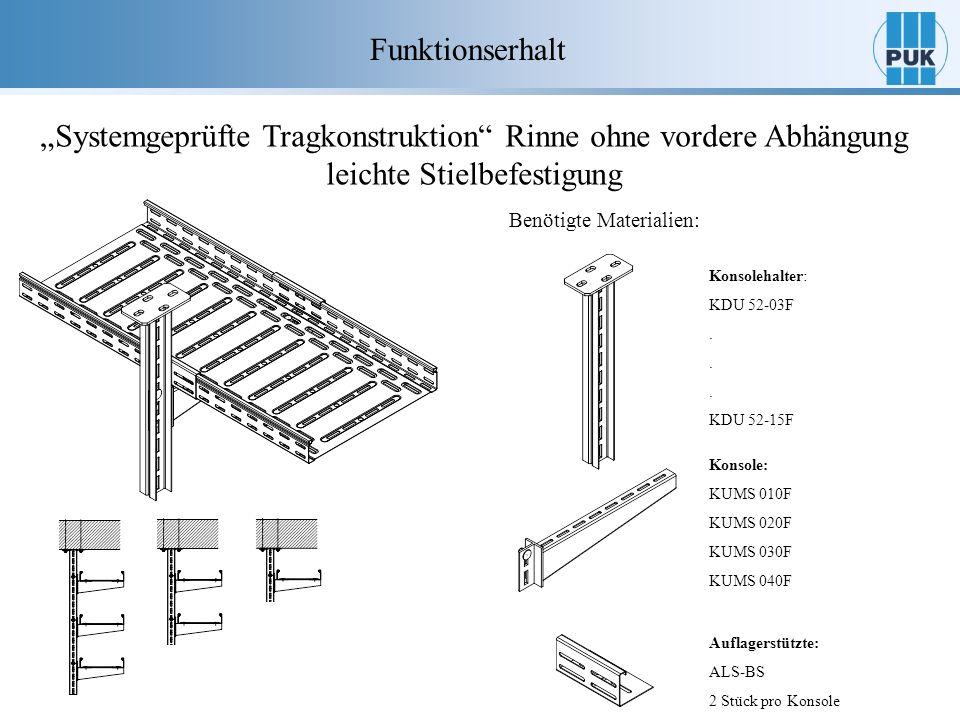 Funktionserhalt Systemgeprüfte Tragkonstruktion Rinne ohne vordere Abhängung leichte Stielbefestigung Benötigte Materialien: Konsole: KUMS 010F KUMS 0