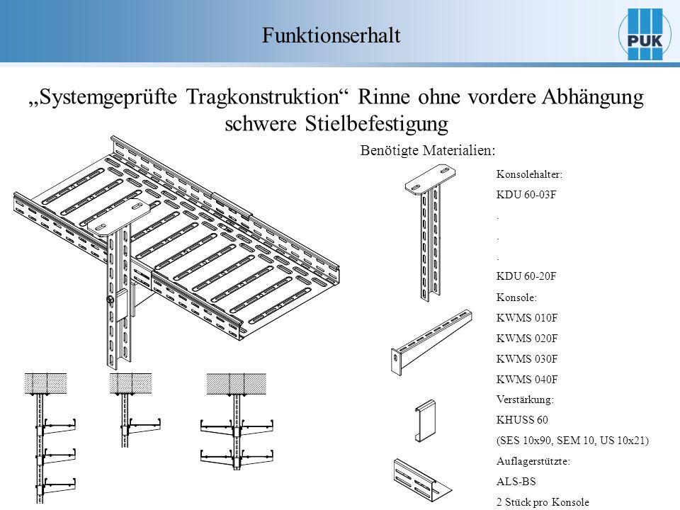 Funktionserhalt Systemgeprüfte Tragkonstruktion Rinne ohne vordere Abhängung schwere Stielbefestigung Benötigte Materialien: Auflagerstützte: ALS-BS 2