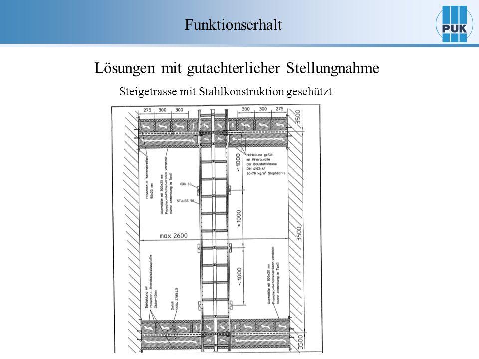 Funktionserhalt Lösungen mit gutachterlicher Stellungnahme Steigetrasse mit Stahlkonstruktion geschützt