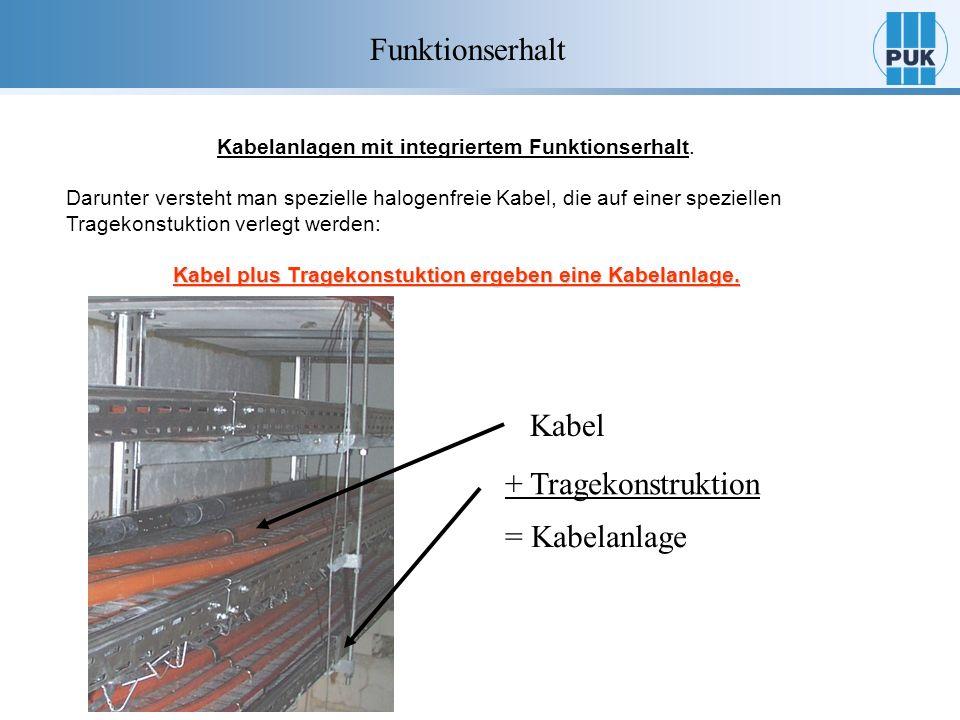Kabelanlagen mit integriertem Funktionserhalt. Darunter versteht man spezielle halogenfreie Kabel, die auf einer speziellen Tragekonstuktion verlegt w